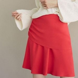 NWT Massimo Dutti Coral flare scrunch skirt Size 4
